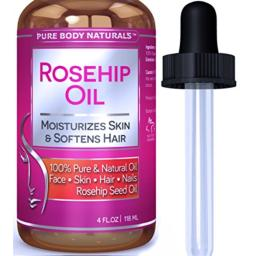 Rosehip Oil Facial Oil for Face, Nails, Hair and Skin, Rosehip Seed Oil by Pure Body Naturals, 4 Fl. Ounce