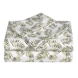 Caribbean Joe Ultra-Soft Double Brushed 4-Piece Microfiber Sheet Set. Beautiful Tropical Patterns, and Vibrant Solid Colors, Luxury, All-Season Bed Sheet Set - Palm Leafs, King