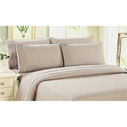 Bamboo Living Eco Friendly Egyptian Comfort Bedding 6 Piece Sheet Set (w/4 Pillowcases) (King, Beige)