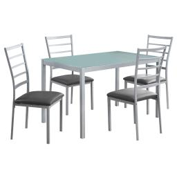 Offex OFX-503684-MO Home Kitchen 5 Piece Dining Set - Frosted Tempered Glass/Silver