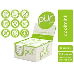 PUR 100% Xylitol Chewing Gum, Coolmint, Sugar-Free + Aspartame Free, Vegan + non GMO, 9 Count (Pack of 12)