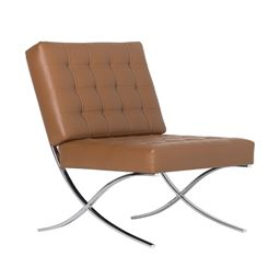 Studio Designs Home Studio Designs Home Atrium Bonded Leather Barcelona Chair in Caramel