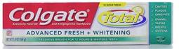 Colgate Total Advanced Fresh + Whitening Toothpaste, Fresh Gel, 5.8 Ounces (Pack of 3)