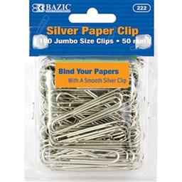 BAZIC Jumbo (50mm) Silver Paper Clip (100/Pack), Box Pack of 24