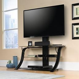 """Sauder 413418 Panel Tv Stand with mount, For TV's up to 50"""", Black/black"""