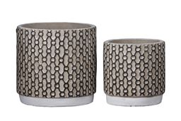 Urban Trends Collection UTC59802 Cement Round Pot with Interweaving Pattern Design Body - Set of 2, Washed Concrete Finish White