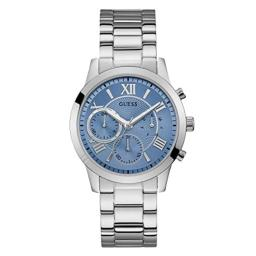 GUESS Classic Stainless Steel + Sky Blue Bracelet Watch with Day, Date + 24 Hour Military/Int'l Time. Color: Silver-Tone (Model: U1070L4)