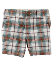 Carter's Baby Boys' Plaid Flat-Front Shorts, 12 Months