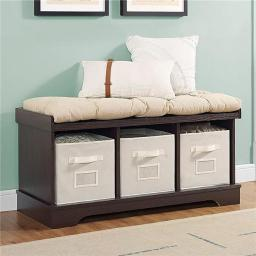 Walker Edison B42STCES 42 in. Wood Storage Bench with Totes & Cushion - Espresso