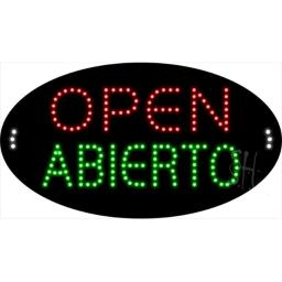 Sign Store L100-1949 Open Abierto Animated LED Sign, 27 x 15 x 1 In.