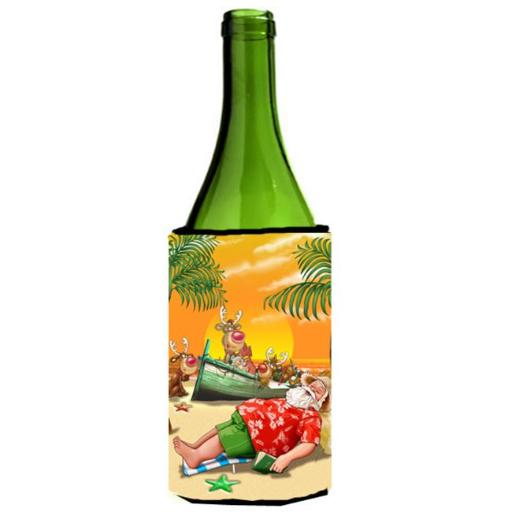Beach Christmas Santa Claus Napping Wine Bottle Can cooler Hugger