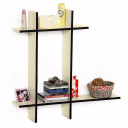 Stylish Beige-BLeather Cross Type Shelve / Book Shelve / Floating Shelve 4 pcs