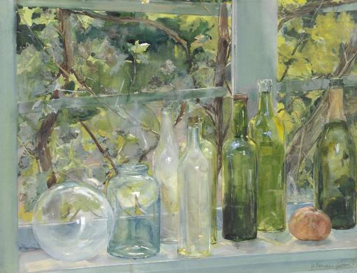 Window Sill With Bottles, A Glass Globe And An Apple, By Menso Kamerlingh Onnes, C. 1892, Dutch Watercolor Painting Poster Print