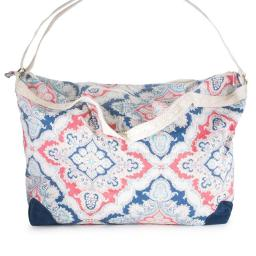 Jgoodin CO-CBG1001-BLUE Karen Multicolor Floral & Lace Duffle Bag, Blue