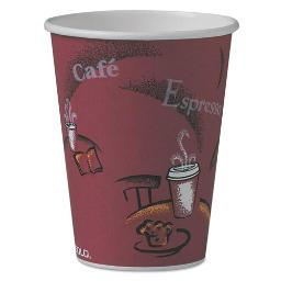 Solo Bistro Design Hot Drink Cups Paper 12OZ Maroon 50 Per Pack | 1 Pack of: 50