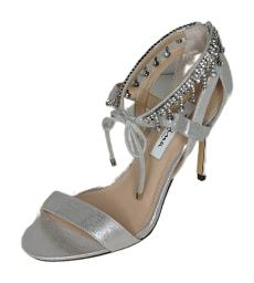 Nina Sz 7.5 Jeweled Ankle High Heel Collina Faux Leather M Sandals A421623