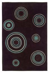Linon Trio Collection Chocolate & Spa Blue - 5' x 7'