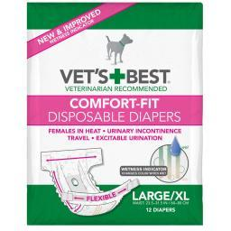 Vet'S Best 3165810448 White Vet'S Best Comfort-Fit Disposable Female Dog Diaper 12 Pack Large / Extra Large White 8.25