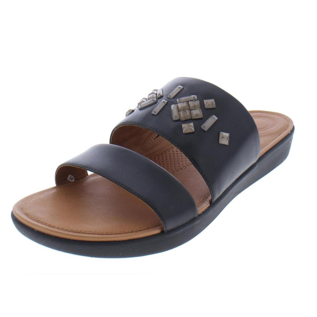 FitFlop Women's Delta Leather Slide Sandals-Crystal