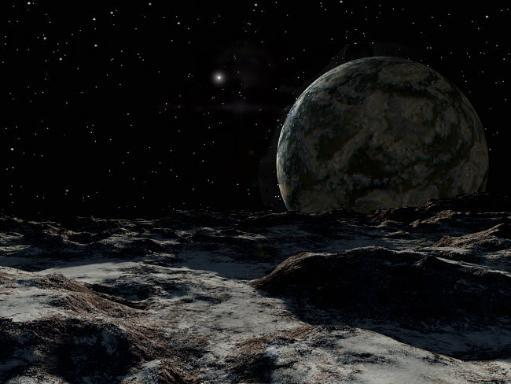 A view from the surface of a large Kuiper Belt Object Poster Print by Ron Miller/Stocktrek Images