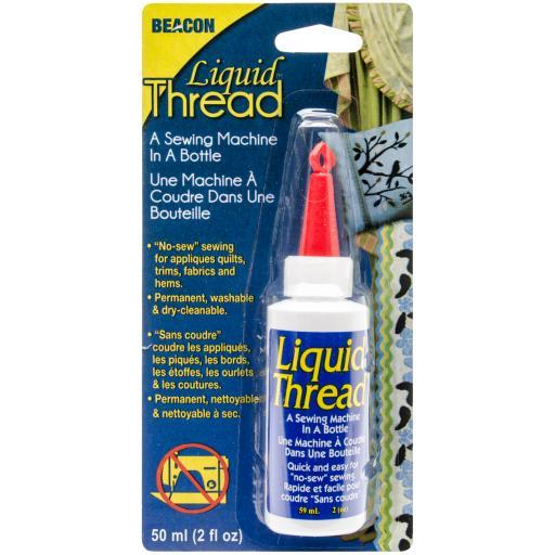 Liquid Thread Glue-2oz BEACON-Liquid Thread. A sewing machine in a bottle. No Sew sewing for appliques, quilts, trims, fabrics, hems and seams. Permanent, washable and dry cleanable and non toxic. 2 fluid ounces.