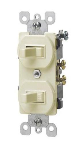 Leviton S01-05224-2is Combination Two Single Pole Switches Duplex - Ivory