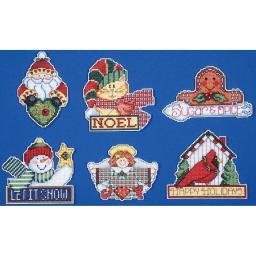 "Signs Of Christmas Ornaments Counted Cross Stitch Kit-3.5""X4"" 14 Count Set Of 6 DW1676"