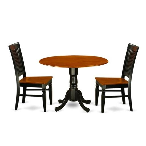 East West Furniture DLWE3-BCH-W Kitchen Table Set with a Kitchen Table & 2 Wood Seat Dining Chairs, 3 piece - Black & Cherry