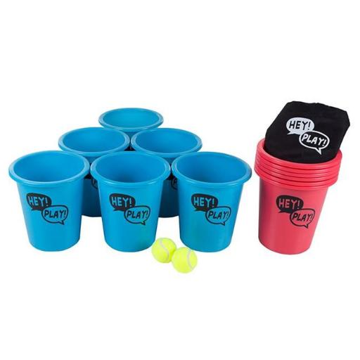 Hey Play M350020 9 x 8.5 in. Large Beer Pong Outdoor Game Set for Kids & Adults with 12 Buckets 2 Balls Tote Bag
