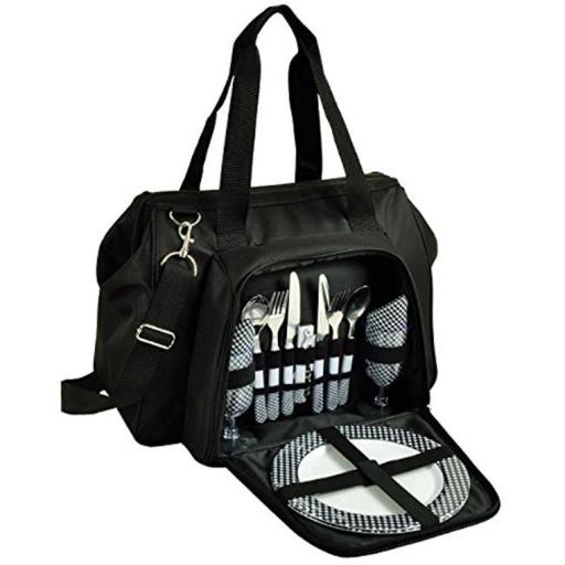 Picnic at Ascot 557-BLK City Picnic Cooler Equipped for Two - Black