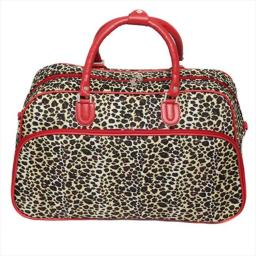 All-Seasons 812014-168-R 21 in. Leopard Print Carry-On Shoulder Tote Duffel Bag, Red Trim
