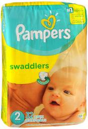 Pampers Swaddlers New Baby Diapers Size 2 - 4 packs of 32, Pack of 2