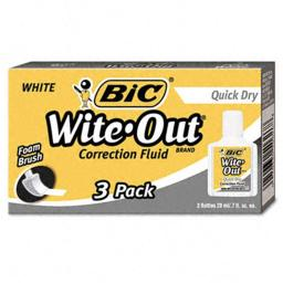 Bic WOFQD324 Wite-Out Quick Dry Correction Fluid  20ml Bottle  White  3 per Pack