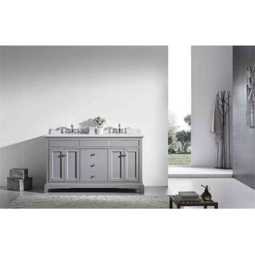 Elite Stamford 60 Inch Gray Solid Wood Bathroom Vanity Set with Double OG White Carrera Marble Top & White Undermount Porcelain Sinks