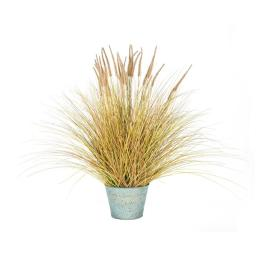 Vickerman T15019 39 x 30 in. Artificial Brown Dogtail Green Grass Bush in Metal Pot