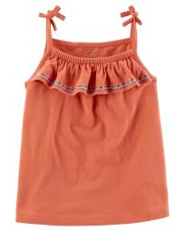 Carter's Little Girls' Embroidered Tie-Shoulder Top