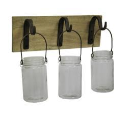 3 Glass Jar Candle Holders On Wood Decorative Wall Hanging