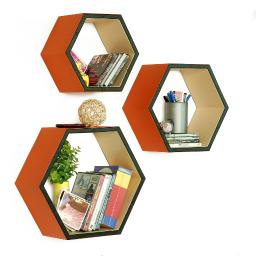 Lovey Dovey Hexagon Leather Wall Shelf / Bookshelf / Floating Shelf (Set of 3)