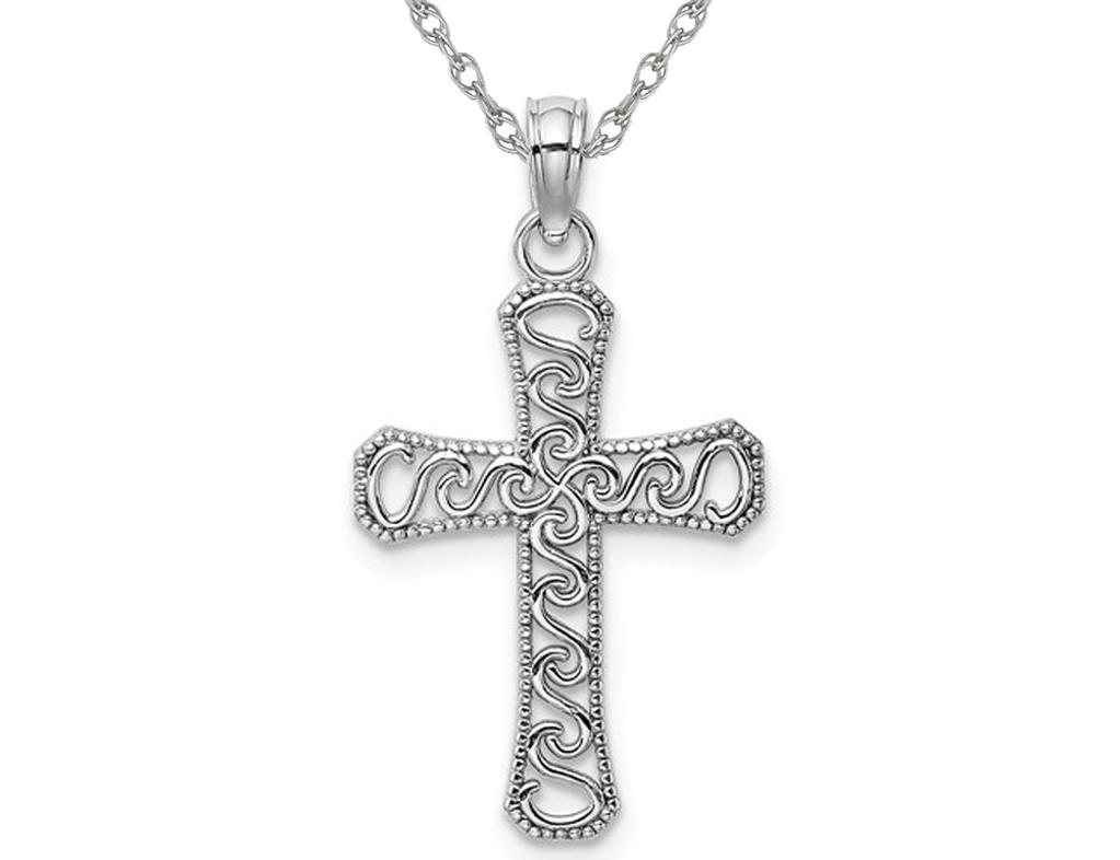 14K White Gold Fancy Cross Pendant Necklace with Chain