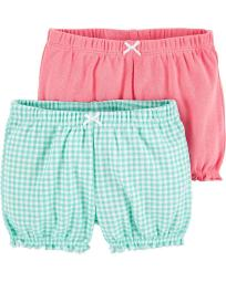 Carter's Baby Girls' 2-Pk. Bubble Shorts -Mint Check/ Pink- 24 Months
