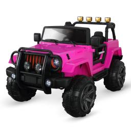 Kidzone 12 Volt Electric Ride On 4 Wheel 2 Seater Truck with Led Headlights and Spring Suspension, Pink