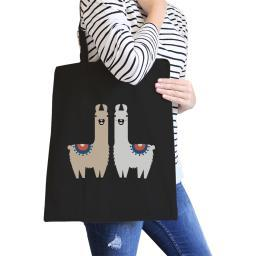 Llama Pattern Black Canvas Tote Cute Beach Tote For Teens