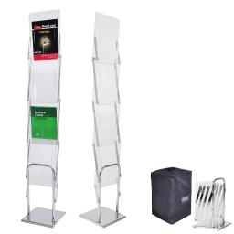 Yescom Portable Pop Up 4 Clear Pocket Magazine Brochure Literature Catelog Holder Rack Stand Tradeshow Display