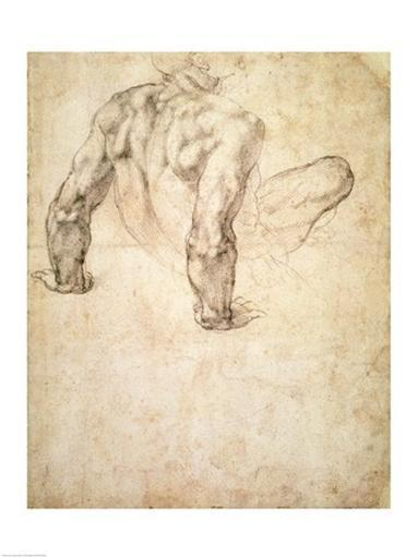 W.63r Study of a male nude, leaning back on his hands Poster Print by Michelangelo Buonarroti KYATTQQKSVQZRSDR