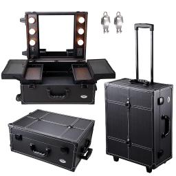 AW 15x8x19' Rolling 2-wheels Studio PVC Makeup Cosmetic Case Lockable w/ Light Mirror Train Table Black