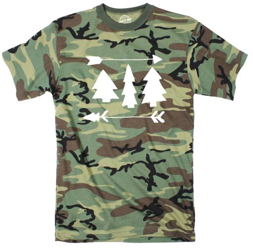 Pine Trees And Arrows Youth Camo Tshirt Cute Outdoor Camping Tee