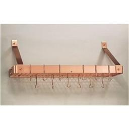 Old Dutch 36.2 x 9 x 12 Decor Copper Bookshelf Rack with Grid and 12 Hooks - 104CP