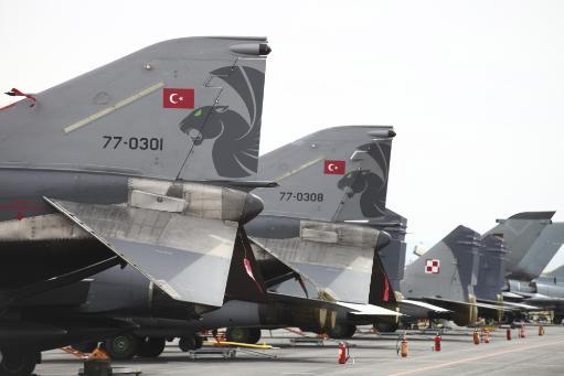 Turkish and Polish aircraft tails at NATO's Tactical Leadership Program exercise, Albacete Airfield, Spain Poster Print