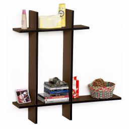 Light Coffee-BLeather Cross Type Shelve / Book Shelve / Floating Shelve 4 pcs