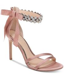 BADGLEY MISCHKA Womens Debra Fabric Open Toe Special Occasion Ankle Strap San...